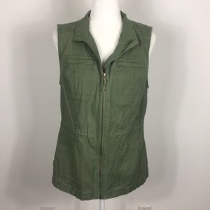 Merona Army Green Military Zip Up Vest